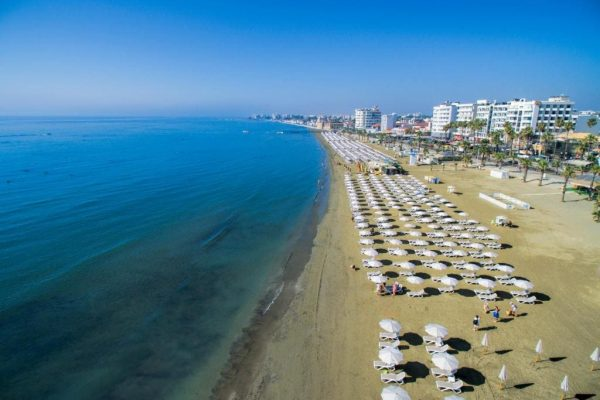 Finikoudes beach in Larnaca from above